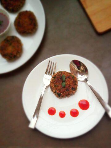 Spinach Mushroom Soya Cutlet